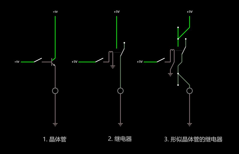 继电器和晶体管在开关功能上的对比-断开状态