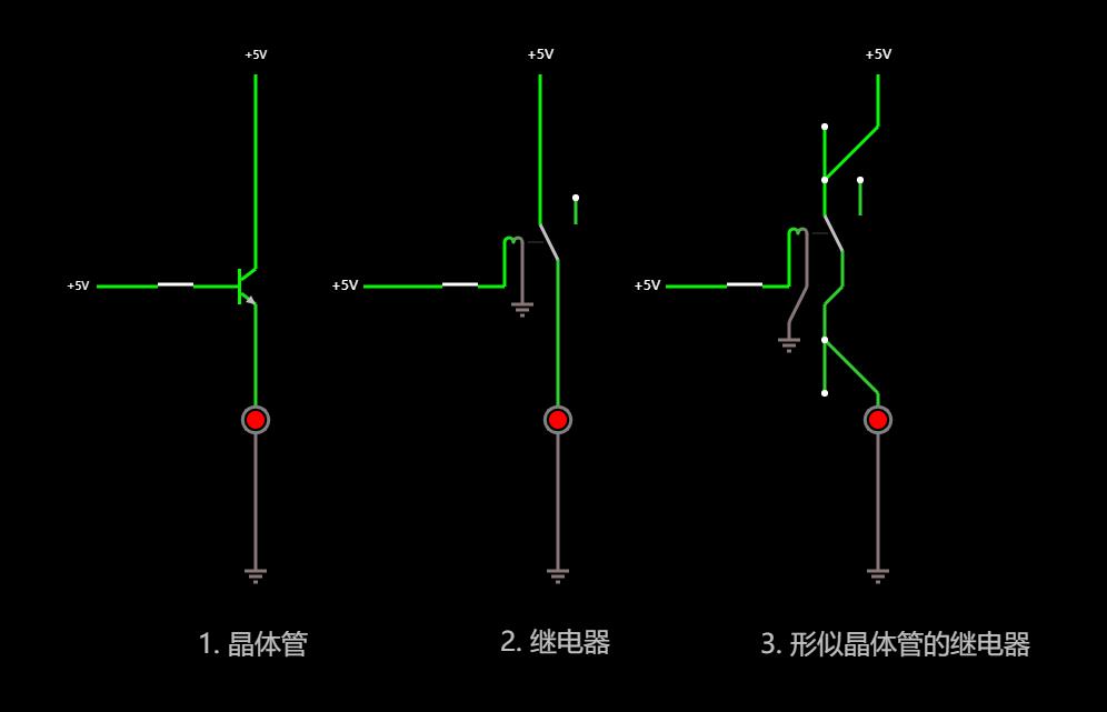 继电器和晶体管在开关功能上的对比-开启状态